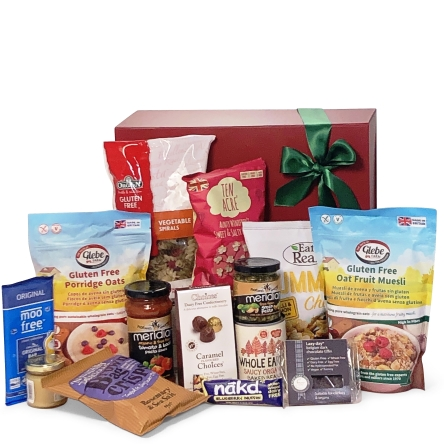 Gift box filled with vegan gluten free food and drink