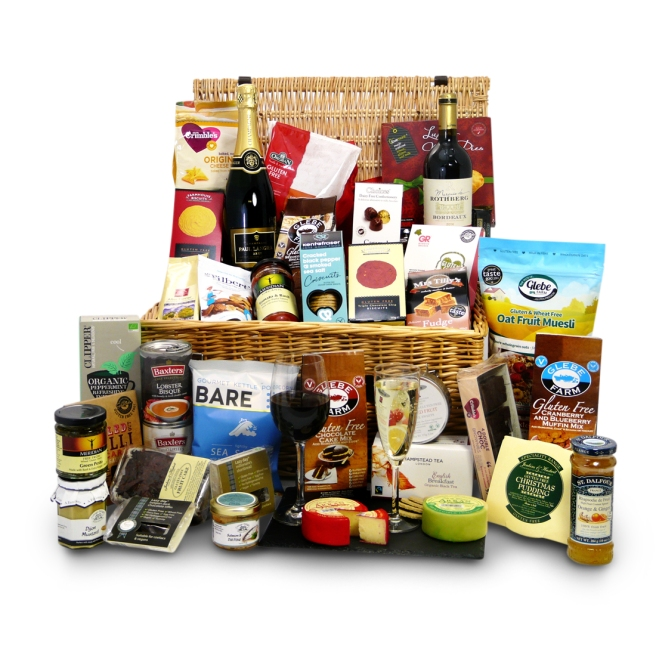 Wicker gift basket filled with gluten free food and drink